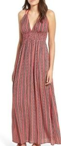 Band of Gypsies Print Halter Maxi Dress in Red